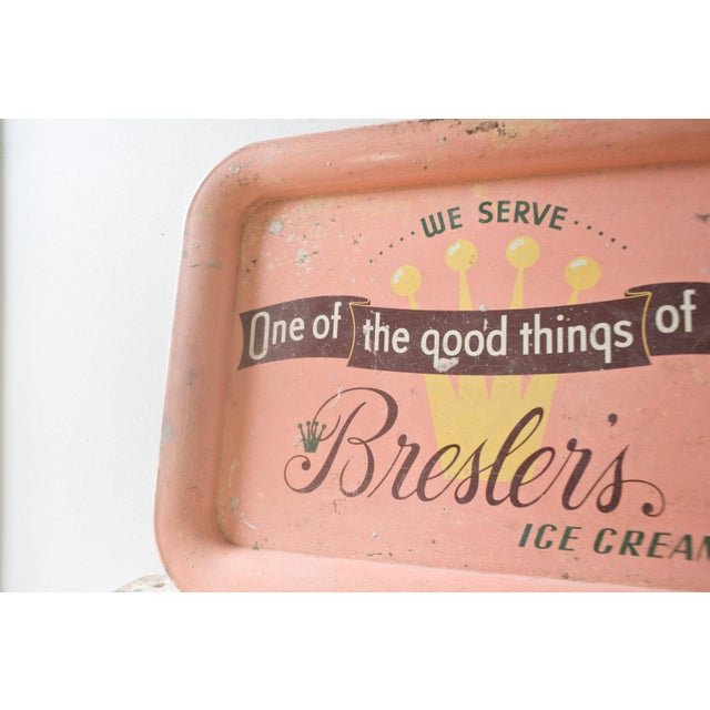 Image of Vintage Tray Breslers Ice Cream Serving TV Tray