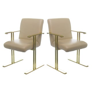 Directional Brass & Almond Leather Armchairs -Pair