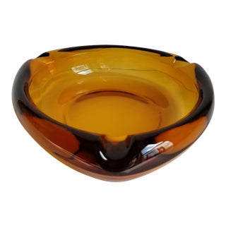 Mid 20th Century Modern Large Triangular Amber Pressed Glass Ashtray