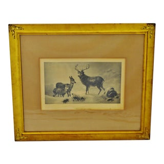 Antique 19th Century Clarence Roe Highland Solitude Framed Print