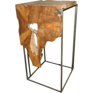 Teak Wood & Metal Pedestal