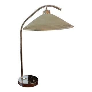 Italian Mid-Century Chrome Lamp with Glass Shade