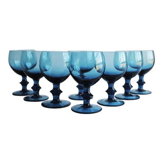 Vintage Turquoise Glasses - Set of 8