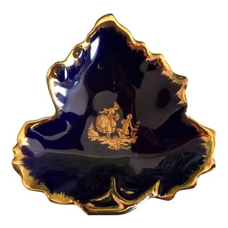 Limoges Navy Blue & Gold Leaf Porcelain Candy Dish