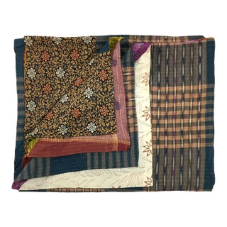 Subdued and Boldly Hued Rug and Relic Kantha Quilt