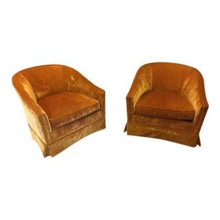Velvet Vintage Club Chairs - A Pair