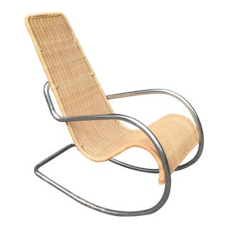 Mid-Century Rattan & Chrome Italian Rocking Chair