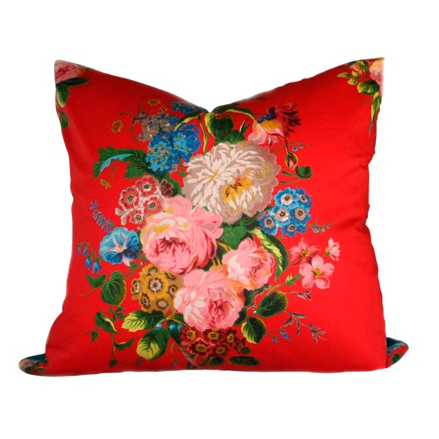 Vintage Red Floral Pillow - Image 1 of 4