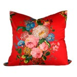 Image of Vintage Red Floral Pillow