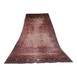 Vintage Distressed Sarouk Wool Carpet - 8′8″ × 12′3″