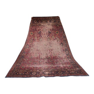 Vintage Distressed Sarouk Wool Carpet - 8′8″ × 12′3″