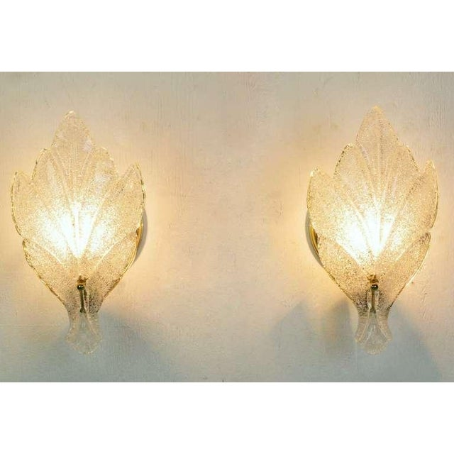 Pair Murano Glass Maple Leaf Wall Sconces - Image 3 of 5