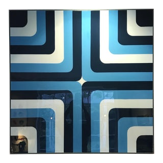 'Poolside' Blue Striped Painting