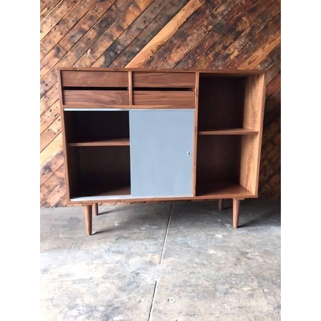 Mid-Century Style Custom Walnut Cabinet - Image 6 of 7