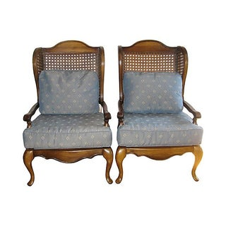 Caned Wingback Chairs - A Pair