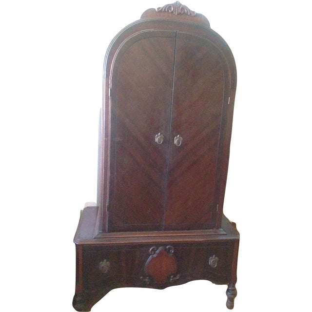 Image of Antique Wood Wardrobe Armoire Dresser Closet