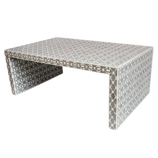Modern Gray & White Inlaid Coffee Table