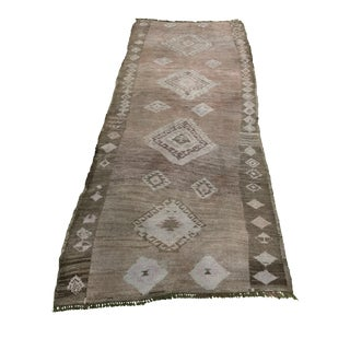 "Antique Turkish Oushak Runner - 3'6"" x 8'3"""