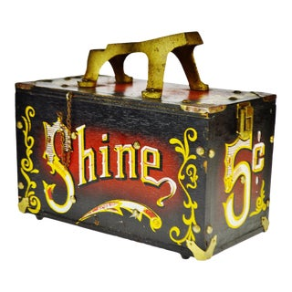 Vintage Painted Wood Shoe Shine Box