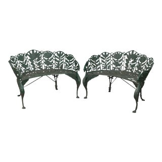 Antique Coalbrookdale Style Laurel Pattern Cast Iron Garden Benches - a Pair