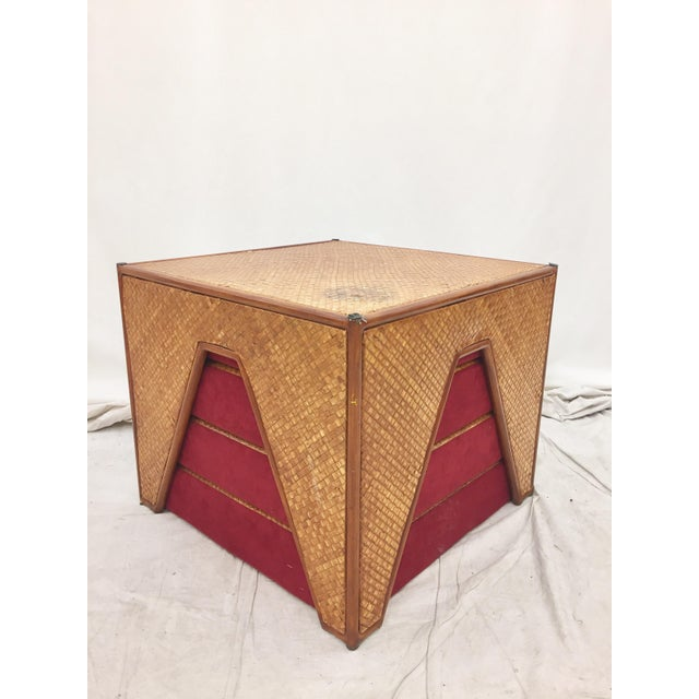 Vintage Woven Side Table & Stacking Ottomans - Set of 5 - Image 3 of 7