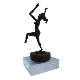 Vintage Brutalist Bronze Female Sculpture by D. Fritz