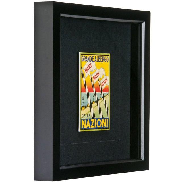 Image of Framed Vintage Hotel Luggage Label - Nazioni
