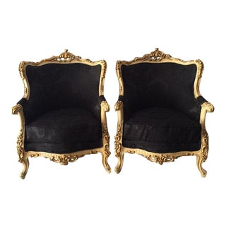 Baroque Black Damask Velvet Armchairs - A Pair