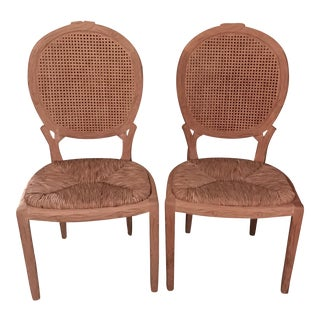 Faux Bois Dining Chairs - Pair