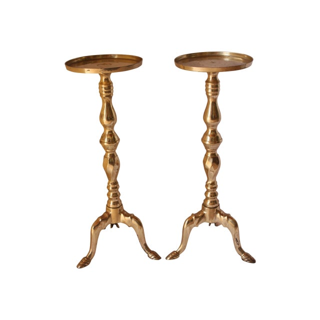 Image of Tall Brass Pillar Candle Holders - A Pair