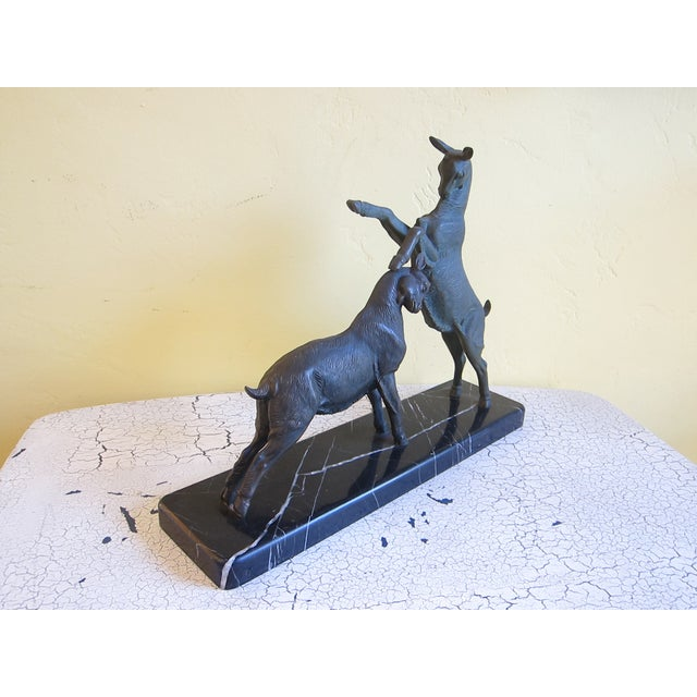 Vintage Art Deco Bronzed Rutting Goats on Marble - Image 7 of 11
