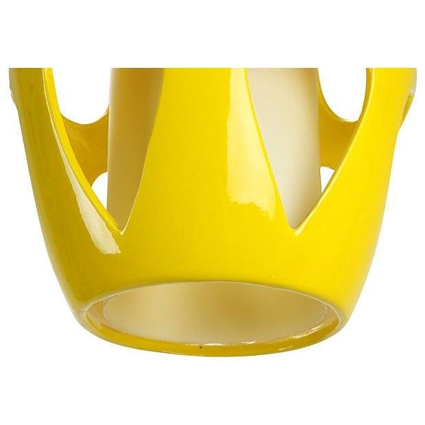 Mid-Century Modern Yellow Ceramic Pendant - Image 5 of 5