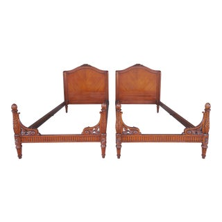 Vintage French Louis XVI Detailed Carved High Quality Twin Beds - a Pair