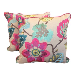 Floral Embroidered Pillows - A Pair