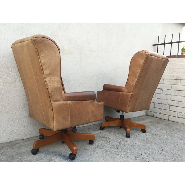 Mid-Century Italian Leather Chairs - Pair - Image 10 of 11