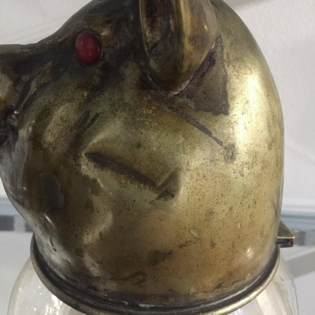 Vintage Glass and Brass Pig Head Jar - Image 9 of 10