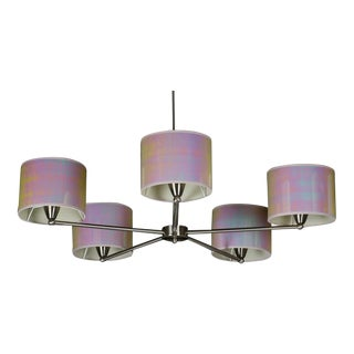 Contemporary Iridescent White/Pink Shaded Chrome Chandelier