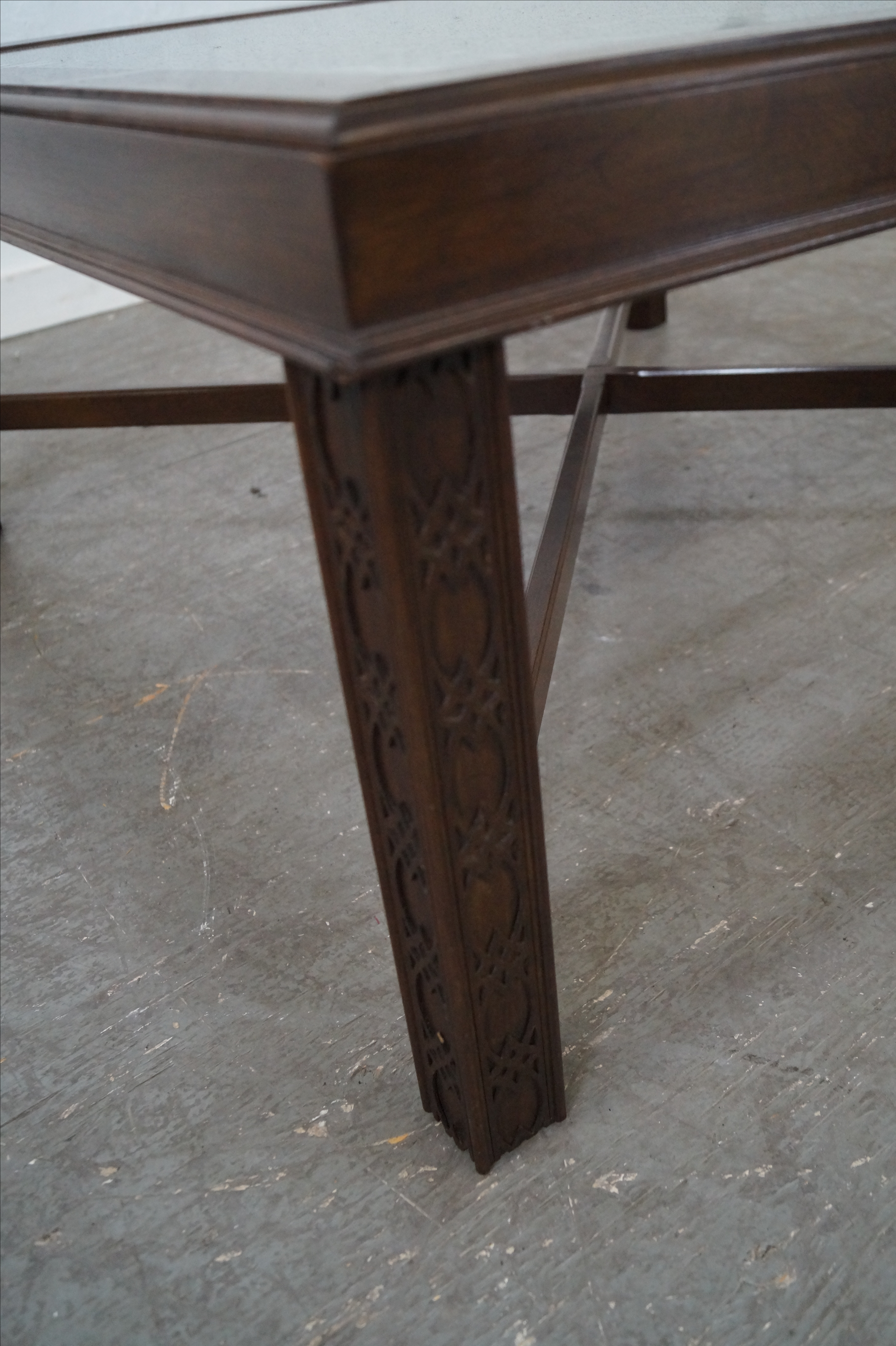 Chippendale Style Cherry Glass Top Coffee Table   Image 4 Of 10