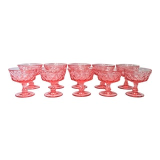 Pink Depression Glass Dessert Glasses - Set of 10