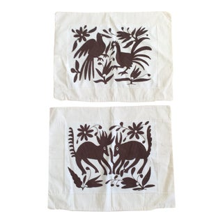 Embroidered Mexican Otomi Pillow Cases - A Pair
