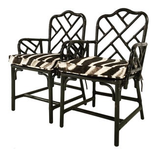 Chinese Chippendale Black Painted Side Chairs - One Available