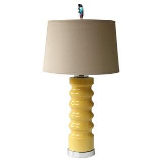 Sonneman-Style Wavy Yellow Cylinder Lamp