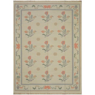 Large New Hand Woven Indian Dhurrie Rug - 10' x 14'