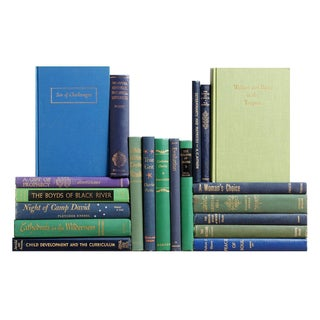 Mid-Century Blue & Green Books - Set of 20