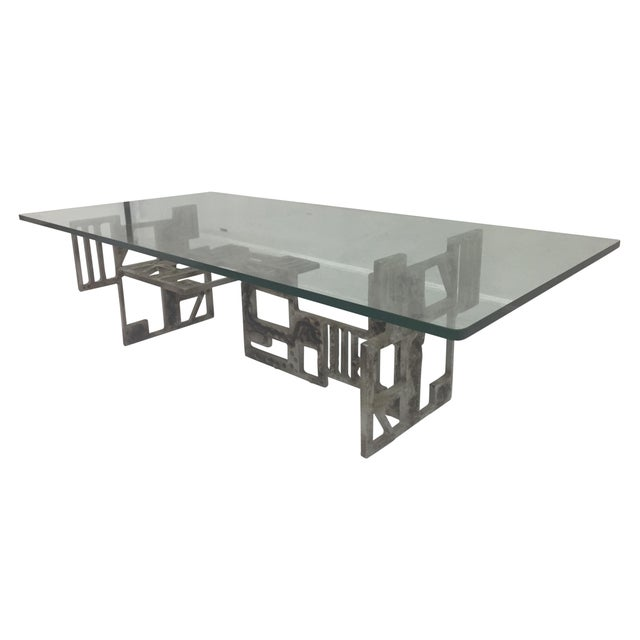 Brutalist Base With Glass Top Coffee Table - Image 1 of 4
