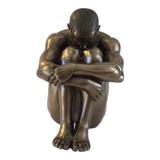 Vintage Sitting Bronze Man
