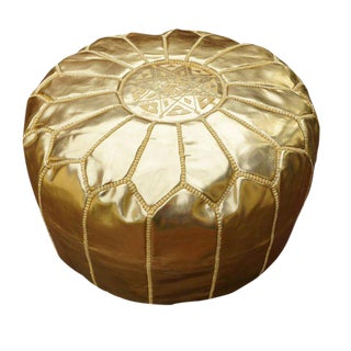 Moroccan Gold Faux Leather Pouf