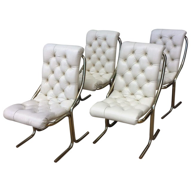 Daystrom Tufted White Dining Chairs - Set of 4 - Image 1 of 10
