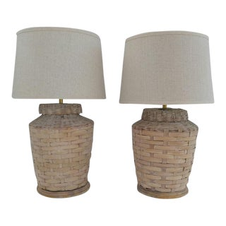 Woven Basket Table Lamps - A Pair