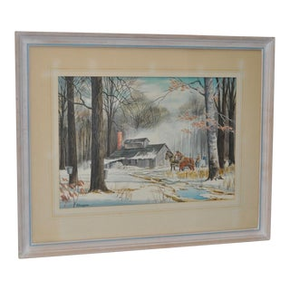 New England Winter Landscape Watercolor Painting by Kinley Shogren Circa 1970